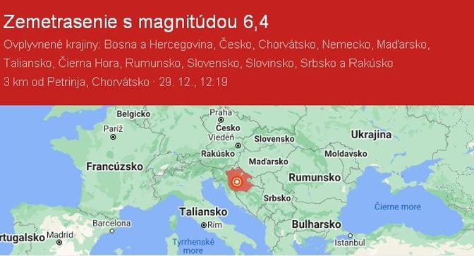ZEMETRASENIA V CHORVÁTSKU  V DŇOCH  29. a 30.12.2020